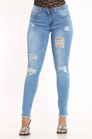 Women's Ripped Fray Hem Jean - Light Blue-VIM.COM