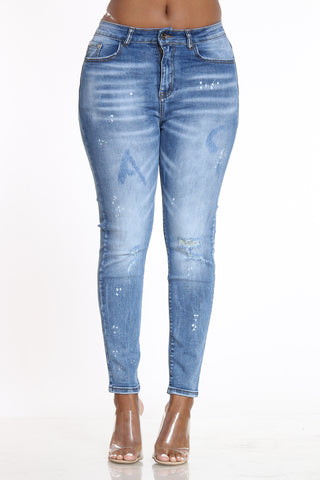 AC Letter Ripped Jean - Medium Blue-VIM.COM