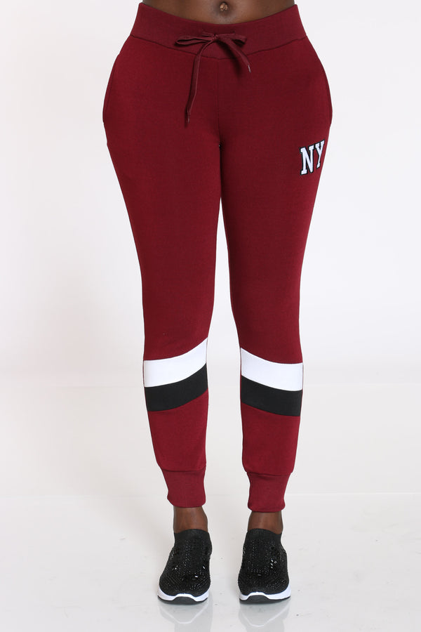 Women's Color Block Jogger - Burgundy-VIM.COM