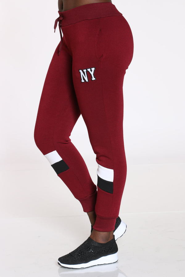 The City That Never Sleeps Color Block Jogger - Burgundy