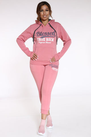 Blessed Never Stressed True Rock Jogger - Pink-VIM.COM