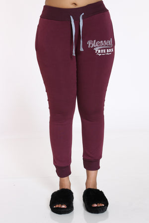 Women's Blessed True Rock Jogger - Burgundy-VIM.COM