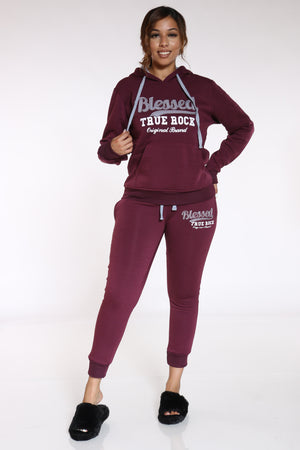 Blessed Never Stressed True Rock Jogger - Burgundy