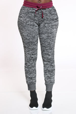 Women's Marled Color Block Jogger - Burgundy Grey-VIM.COM