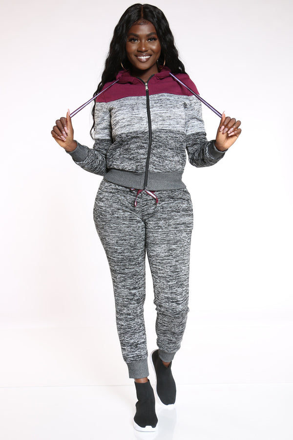 On The Go Marled Color Block Jogger - Burgundy Grey