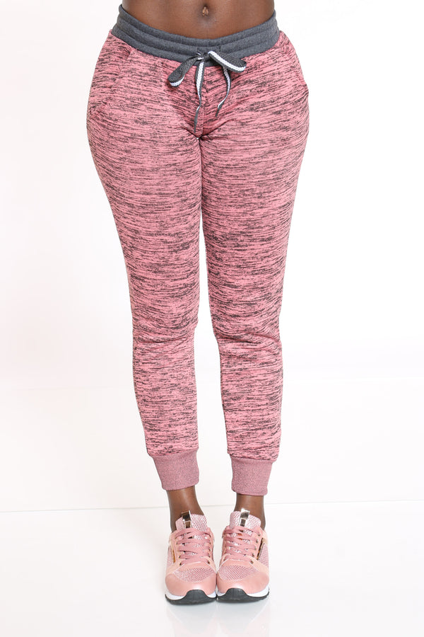 Women's Marled Color Block Jogger - Pink-VIM.COM