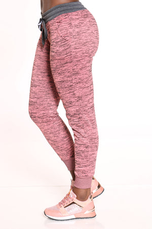 On The Go Marled Color Block Jogger - Pink