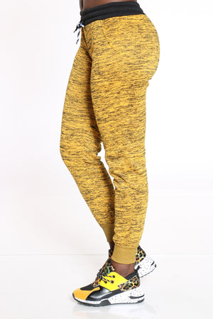 On The Go Marled Color Block Jogger - Mustard