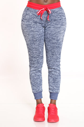 Women's Marled Color Block Jogger - Red Navy-VIM.COM