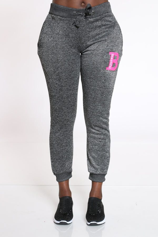Women's B Patch Marled Jogger - Black-VIM.COM