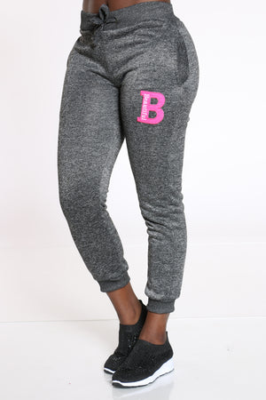 Women's B Patch Marled Jogger - Black