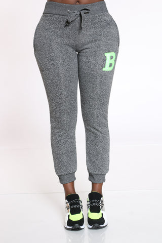 Women's B Patch Marled Jogger - Charcoal Grey-VIM.COM