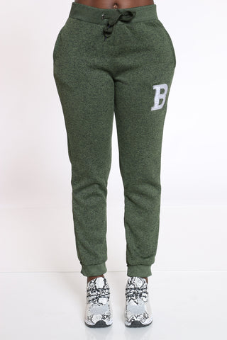 Women's B Patch Marled Jogger - Olive Grey-VIM.COM