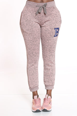 Women's B Patch Marled Jogger - Dusty Rose-VIM.COM