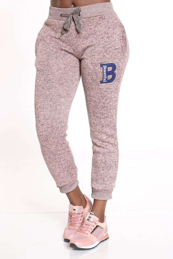Women's B Patch Marled Jogger - Dusty Rose