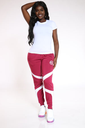 Women's Queen Color Block Fleece Jogger - Burgundy-VIM.COM