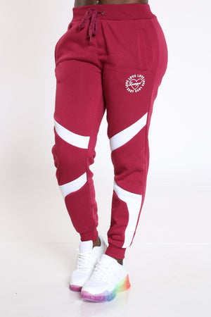 Women's Queen Color Block Fleece Jogger - Burgundy