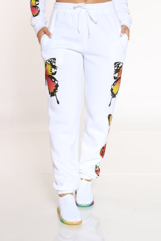 Women's Butterflies Fleece Jogger - White-VIM.COM