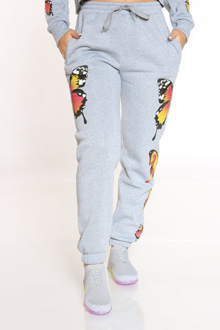 Women's Butterflies Fleece Jogger - Heather Grey-VIM.COM