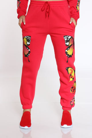 Women's Butterflies Fleece Jogger - Red-VIM.COM