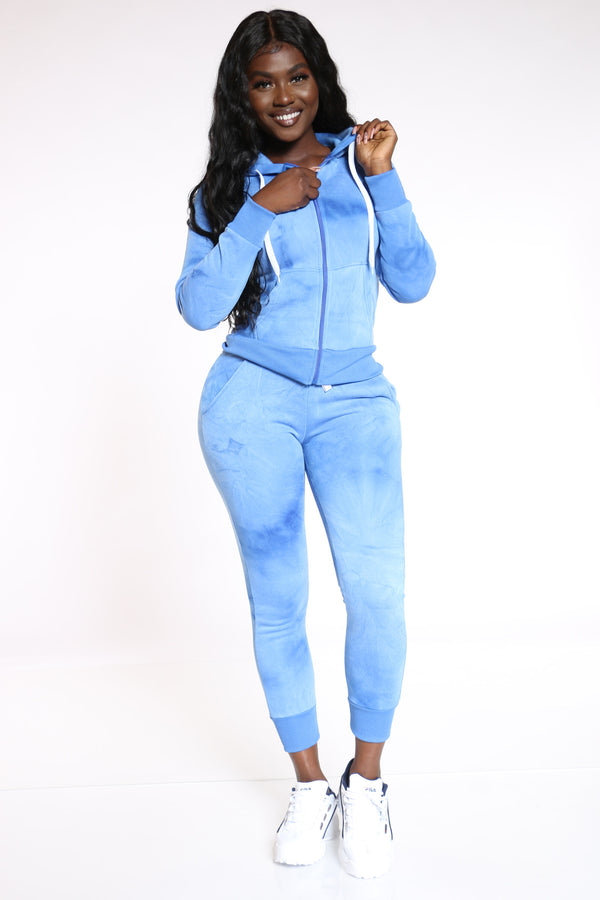 Dyeing To See You Tie Dye Fleece Jogger - Blue
