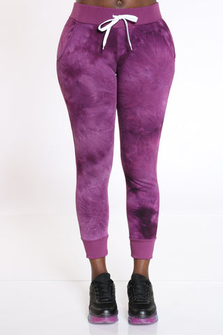 Women's Tie Dye Fleece Jogger - Purple-VIM.COM