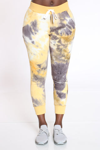 Women's Tie Dye Fleece Jogger - Yellow-VIM.COM