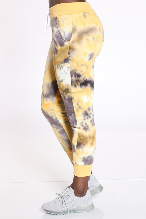 Dyeing To See You Tie Dye Fleece Jogger - Yellow