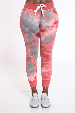 Women's Tie Dye Fleece Jogger - Rust-VIM.COM