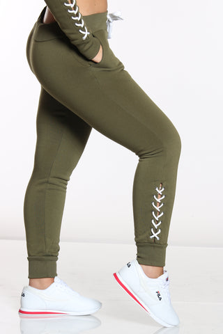 Women's Lace Up Trim Fleece Jogger - Olive-VIM.COM