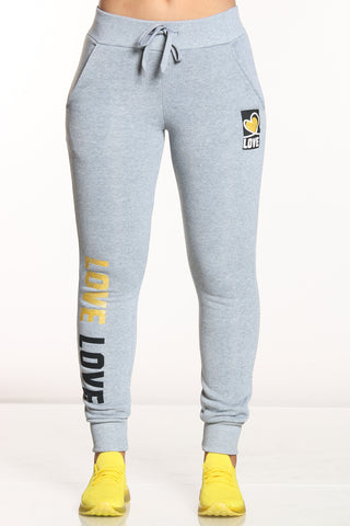 Women's Love Trim Jogger - Heather Grey-VIM.COM