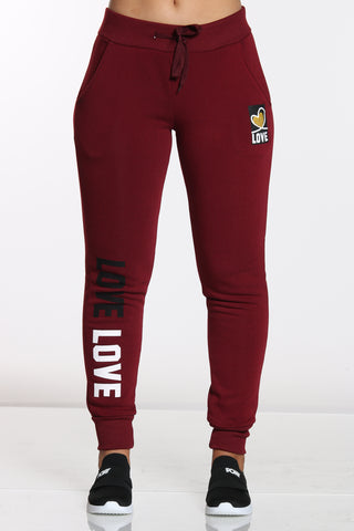 Women's Love Trim Jogger - Burgundy-VIM.COM