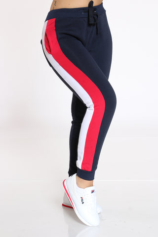 Women's Color Block Fleece Jogger - Navy White Red-VIM.COM