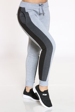 Women's Color Block Fleece Jogger - Heather Grey Black-VIM.COM
