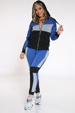 Women's Color Block Fleece Jogger - Royal Black