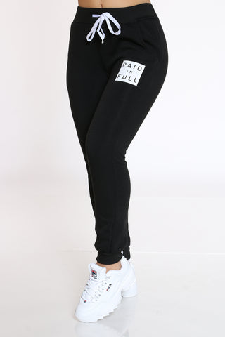 Women's Paid In Full Fleece Jogger - Black-VIM.COM