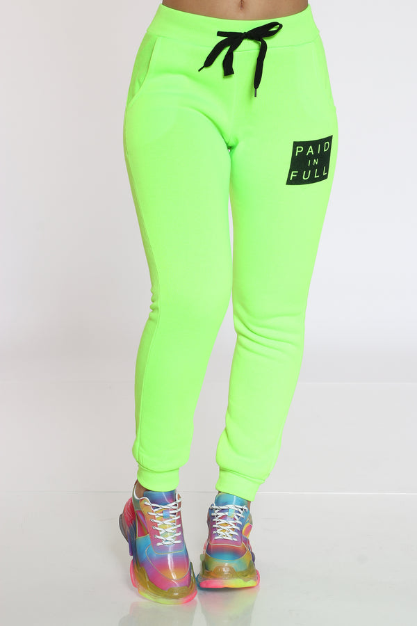 Women's Paid In Full Fleece Jogger - Green-VIM.COM