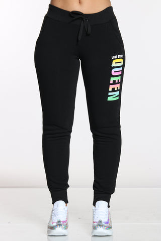 Women's Queen Love Story Fleece Jogger - Black-VIM.COM