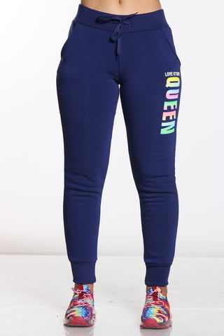 Women's Queen Love Story Fleece Jogger - Navy-VIM.COM
