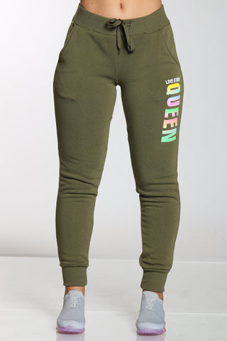 Women's Queen Love Story Fleece Jogger - Olive-VIM.COM