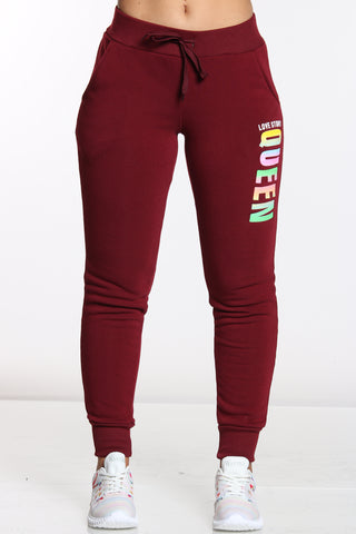 Women's Queen Love Story Fleece Jogger - Burgundy-VIM.COM