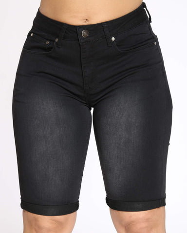 Women's Rabeena Denim Short - Black-VIM.COM