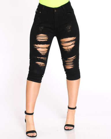 Women's Alyssa Heavy Ripped Capri - Black-VIM.COM