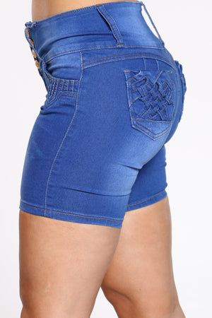 Women's Rhinestone Bermuda Short - Dark Blue