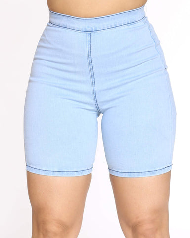 Women's Denim Stretch Bermuda - Ice Wash-VIM.COM