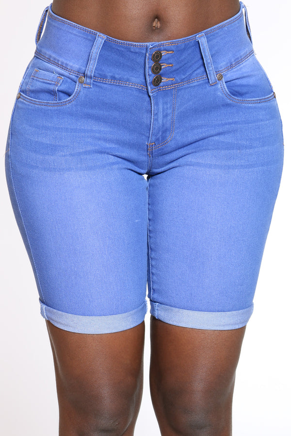 Women's 3 Button Cuff Bottom Bermuda - Medium Blue-VIM.COM