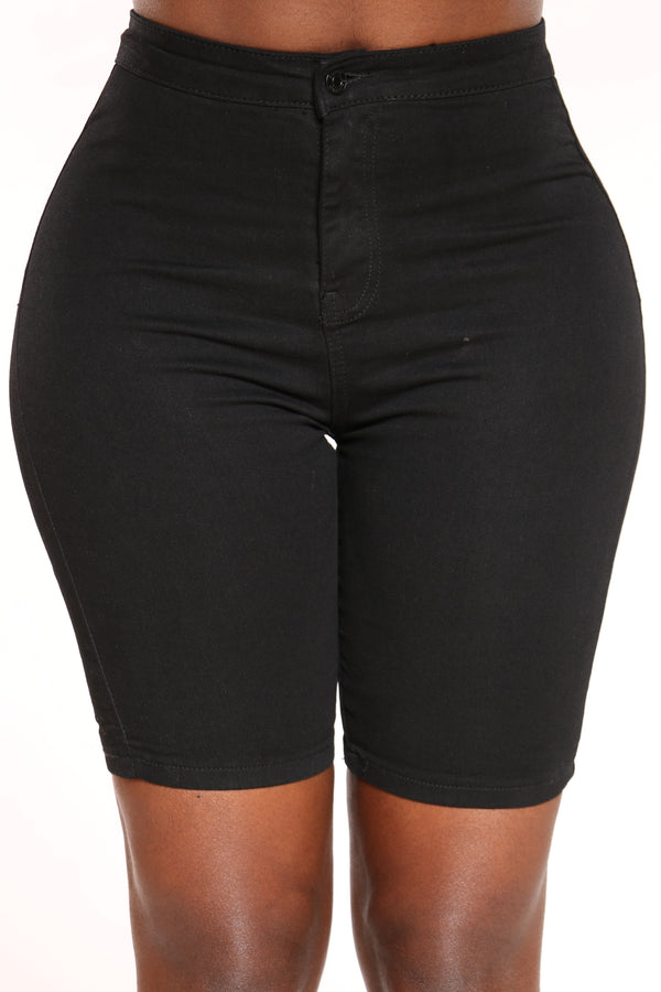 Women's High Waist Bermuda Short - Black-VIM.COM
