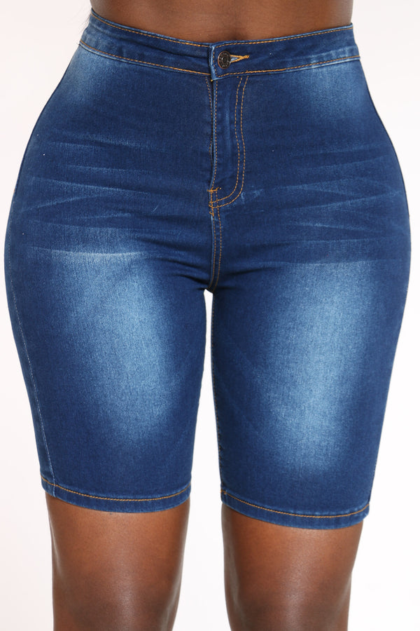 Women's High Waist Bermuda Short - Medium Blue-VIM.COM