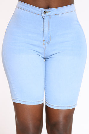 Women's Highwaist Bermuda - Light Blue-VIM.COM
