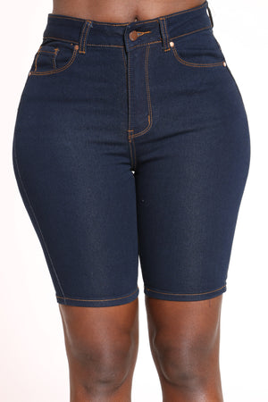 Women's High Waist Bermuda - Dark Blue-VIM.COM